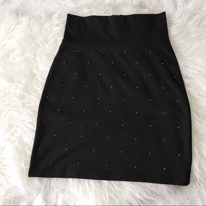 Trouve Studded Black Mini Skirt